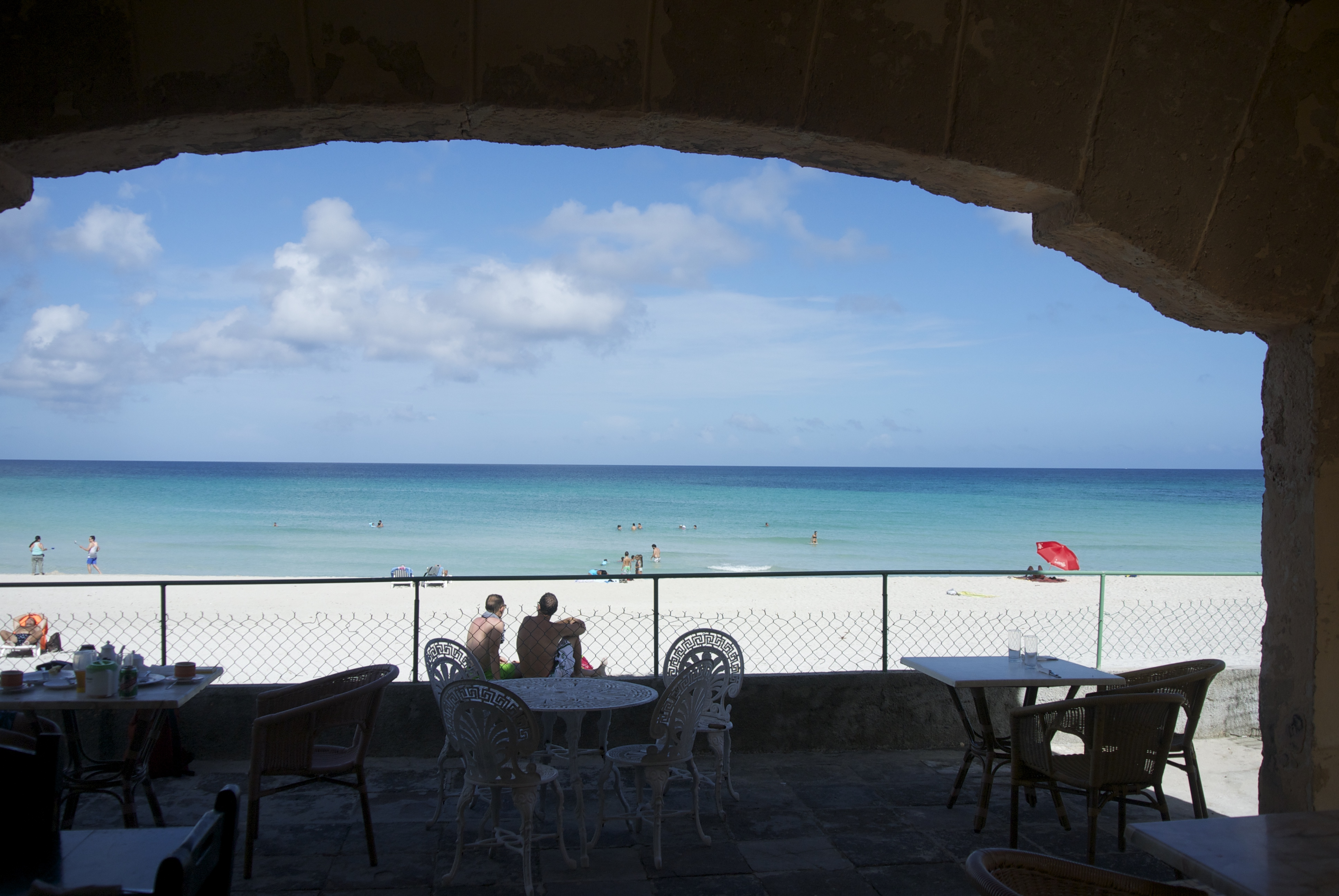 view of the beach from one of the old stone houses in Varadero